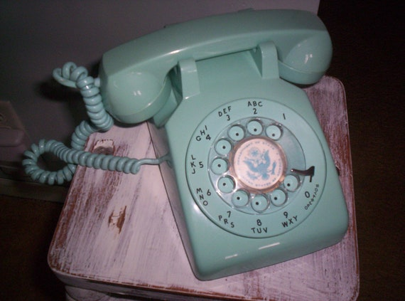 Vintage Aqua Rotary Dial Telephone