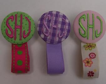 Boutique Custom  Monogrammed Personalized Pacifier Clip Leash
