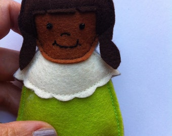 Little People Ornament African American Girl in Green