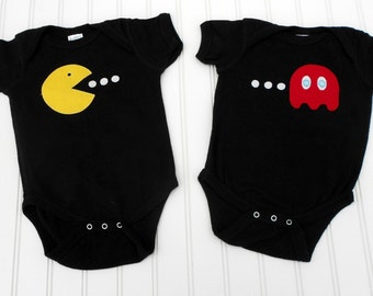 READY TO SHIP Great Costume / Baby Shower Gift bodysuit - PacMan and ghost inspired set great for twins, BBFs or siblings