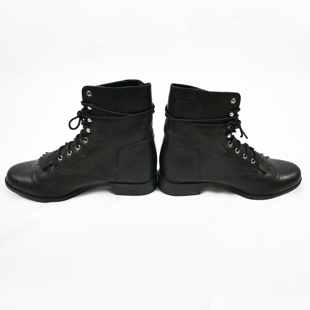 Black Combat Boots Fringe Boots Short Boot Leather Shoes