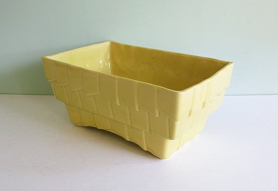 Large Cookson Pottery Ceramic Shingled Planter in Yellow
