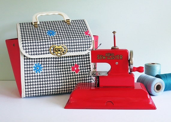 On Reserve for Kristi Forino: 1940s Red KAY-an-EE Sew Master Toy Sewing Machine & Rare Carrying Case