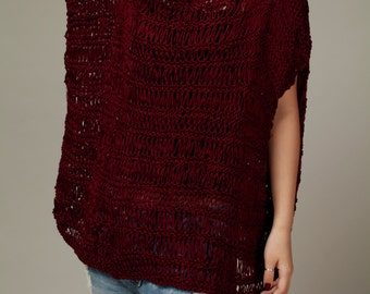 hand knit Sweater, Silky cotton Tunic in Burgundy