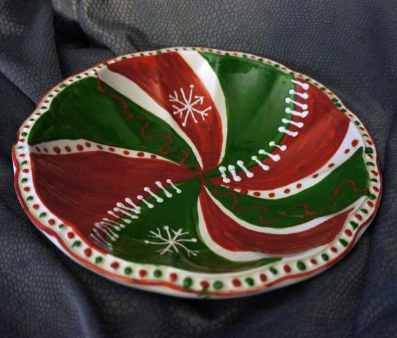 Scalloped Serving Dish with Pearls around the Rim, Whimsical Hand Painted Christmas Candy Serving Dish, Peppermint