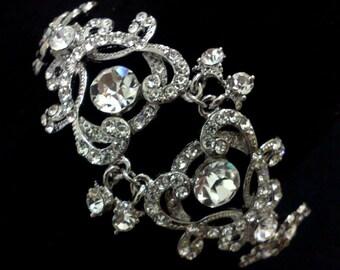 Statement Bridal Bracelet, Victorian Wedding Bracelet, Silver Damask Bracelet, Crystal Bridal Jewelry, Swarovski Wedding Jewelry, YOHANNA