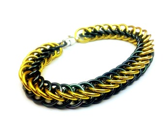 Gold and Hematite Anodized Aluminum Half Persian 4in1 Bracelet
