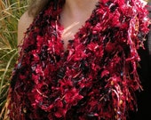 Red crochet scarf, women's multicolor knit scarflette necklace, fringed shiny sparkly sexy red black Christmas Valentine's Day i872