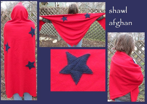Wrap shawl afghan American blue stars, red woven wool, Americana living room throw, Marines Army Navy military 4th of July i978