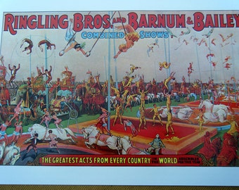 Ringling Bros and Barnum & Bailey Combined Shows Vintage Circus Poster Size Book Plate