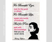 Audrey Hepburn QUOTE NEVER ALONE typography on Dictionary Book Page Art Print Dictionary Page Art Print Dictionary Print black red pink 8x10