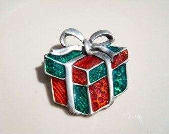 Vintage Christmas Present Pin Brooch XMAS