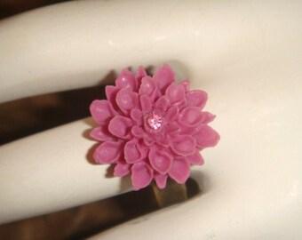 Flower Ring Magenta Antiqued Brass Adjustable with swarovski Crystal