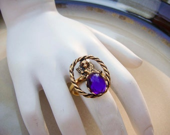 Vintage Angel Ring purple stone adjustable band