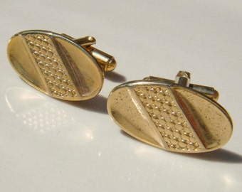 Vintage gold oval art deco cuff links MEN