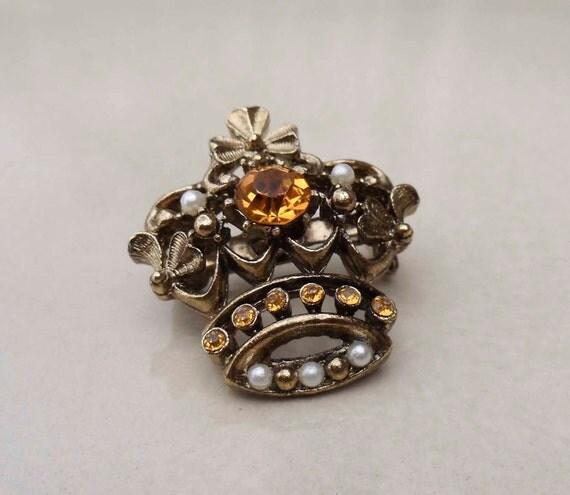 Topaz Pearl Crown vintage brooch pin