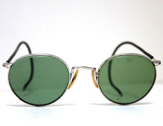 Vintage K2 Hunting Green Aviator Sunglasses Steampunk in Metal Case