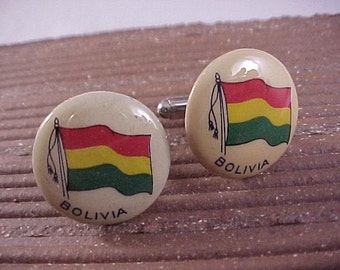 CLOSEOUT Cuff Links Vintage Bolivia Flag - Free Shipping to USA