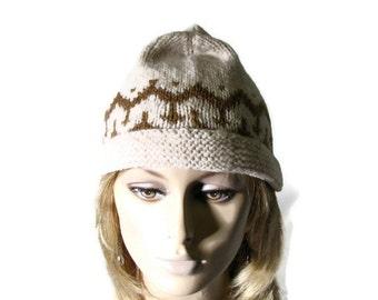 Fall/Winter Hand Knit  Hat - Unisex - Intarsia / Jacquard - Italian LINEAPIU Angora Blend