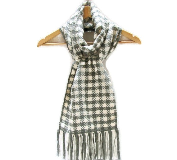 Houndstooth Check Hand Woven Scarf - Extra Long - Exotic Wool Blend - Unisex