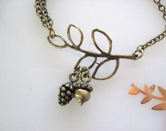 Bronze Branch Bracelet, Acorn Bracelet, Pine Cone Bracelet, Twig, Twig Bracelet, Natural Jewelry, Pinecone, Woodsy Wedding