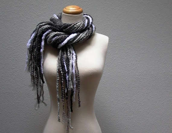 grayscale. crochet chain scarf lariat cowl shades of grey charcoal smoke titanium dove fog granite bohemian fall fashion winter accessories