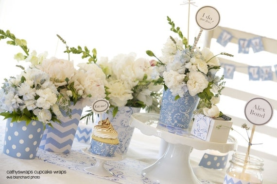 Tea party decorations polka dot damask vases by cathyswraps for Baby shower flower decoration ideas