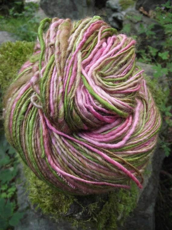 Handspun yarn, handpainted BFL Wool, ooak  luxurious worsted weight yarn-GRAPEFRUIT MOJITO