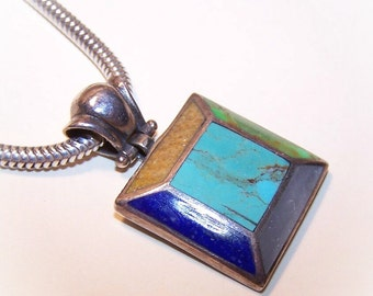 Vintage STERLING SILVER & Multi-Inlay Stone Pendant