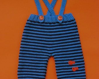 Blue Navy and Orange Baby Overalls Pants Striped