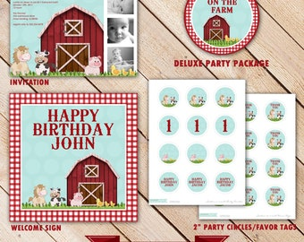 Deluxe Custom Printable Party Package...DOWN on the FARM Collection...Personalized...by KM Thomas Designs
