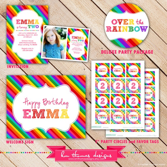Deluxe OVER the RAINBOW Collection...Custom Printable Party Package...Personalized...by KM Thomas Designs