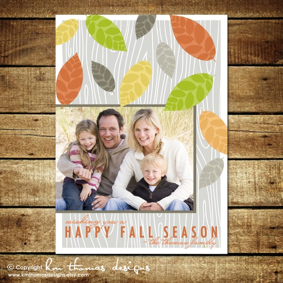 COLORFUL LEAVES...Custom Fall or Autumn Photo Card...by KM Thomas Designs
