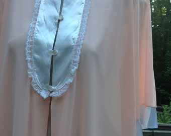 Sale // Peachy Tuxedo Front Flirty Nylon Summer Robe Small Medium