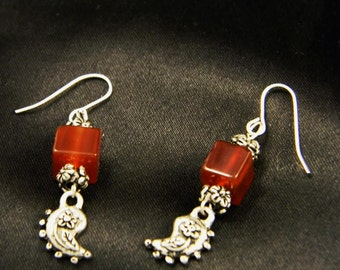Paisley and Carnelian Earrings