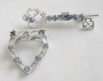 Vintage Blue Rhinestones Heart and Key Pins Set