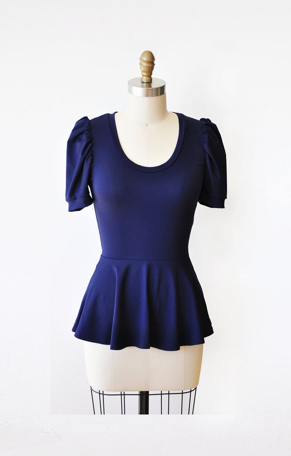 Items Similar To Navy Blue Shirt Women Blouse Puff