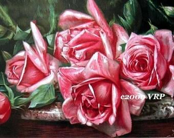 Art Print, Pink Cabbage Roses, Harry Roseland, CP63, Half Yard Long, Shabby Chic