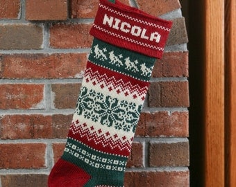 Christmas Stocking, hand-made, knit, personalized, with snowflakes