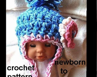 Crochet HAT PATTERN, Children Crochet Hat, Earflap Hat,Toddler Hat, Baby Girl, Girl Hat, teens, adults, women, kids, PATTERN  num 314