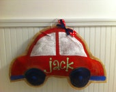 Burlap car with personalization