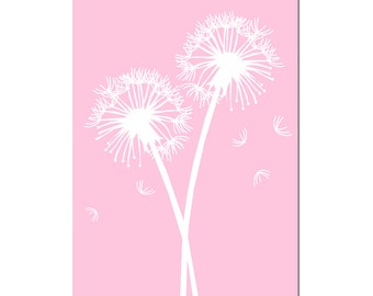 Dandelions - Nursery Art Decor Large 13x19 Dandelion Floral Print - CHOOSE YOUR COLORS  Shown in Pink, White, Pale Gray, Light Pink and More