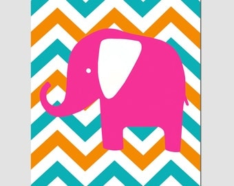 Modern Chevron Elephant Silhouette Print - 11x14 Chevron Zig Zag - CHOOSE YOUR COLORS - Shown in Hot Pink, Orange, Turquoise, and More