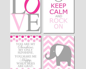 Baby Girl Nursery Decor Art - Chevron Elephant, Love, Keep Calm Rock On, You Are My Sunshine - Set of Four 8x10 Prints - CHOOSE YOUR COLORS