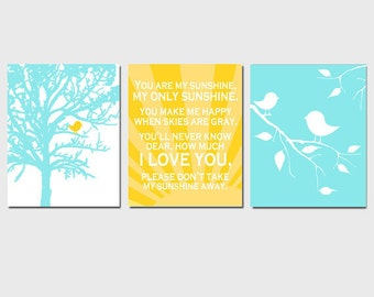 Nursery Art Print Trio - Set of Three 8x10 Prints - You Are My Sunshine, Baby Birds, Tree - CHOOSE YOUR COLORS - Shown in Light Aqua, Yellow