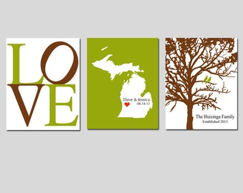 Modern Newlywed Trio - Set of Three 8x10 Customizable Prints - Wall Art - Love, Family Established Bird Tree, State Map - GREAT WEDDING GIFT