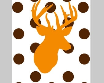 Deer Nursery Decor Deer Polka Dot Deer Nursery Art Woodland Nursery Decor Deer Silhouette Print - Kids Wall Art - CHOOSE YOUR COLORS