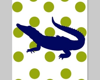 Polka Dot Alligator Nursery Decor Nursery Art - 11x14 Print - Alligator Bedding - CHOOSE YOUR COLORS- Shown in Olive Green and Navy Blue