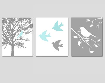 Nursery Art Prints - Modern Bird Trio - Set of Three 8x10 Prints - Choose Your Colors - Shown in Gray, Pale Aqua, and More