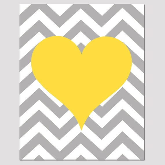 Chevron Heart - 11x14 Print - Kids Wall Art For Nursery or Playroom - CHOOSE YOUR COLORS - Shown in Yellow, Gray, Pink, Aqua, and More